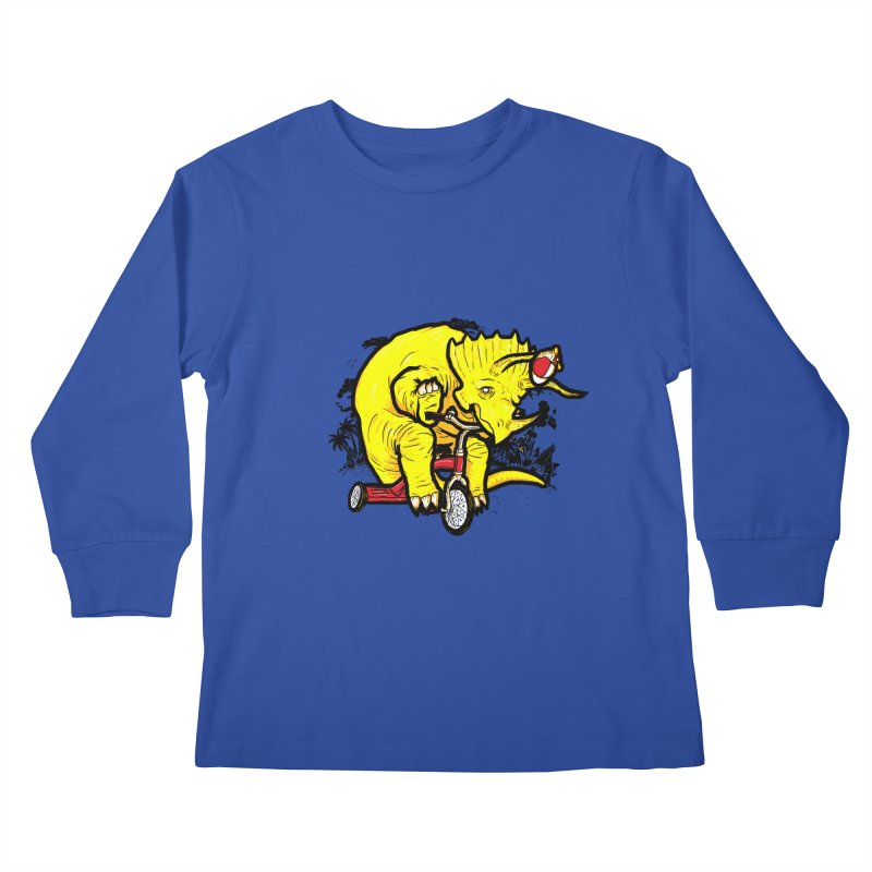 Triceratops on a Tricycle Kids Longsleeve T-Shirt by Jonah Makes Art
