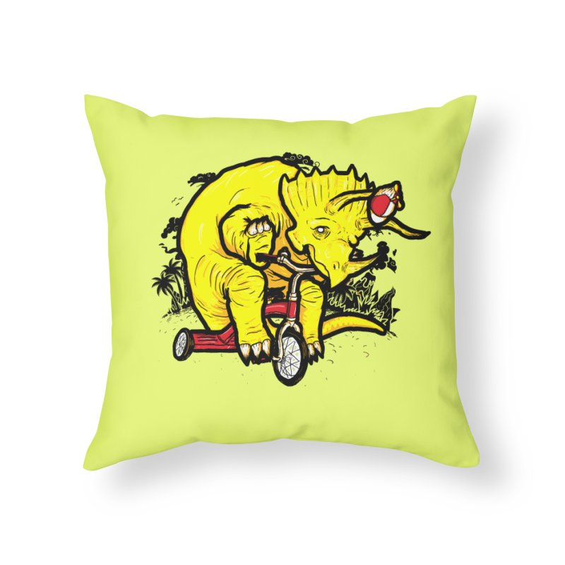Triceratops ona Tricycle  Home Throw Pillow by Jonah Makes Art
