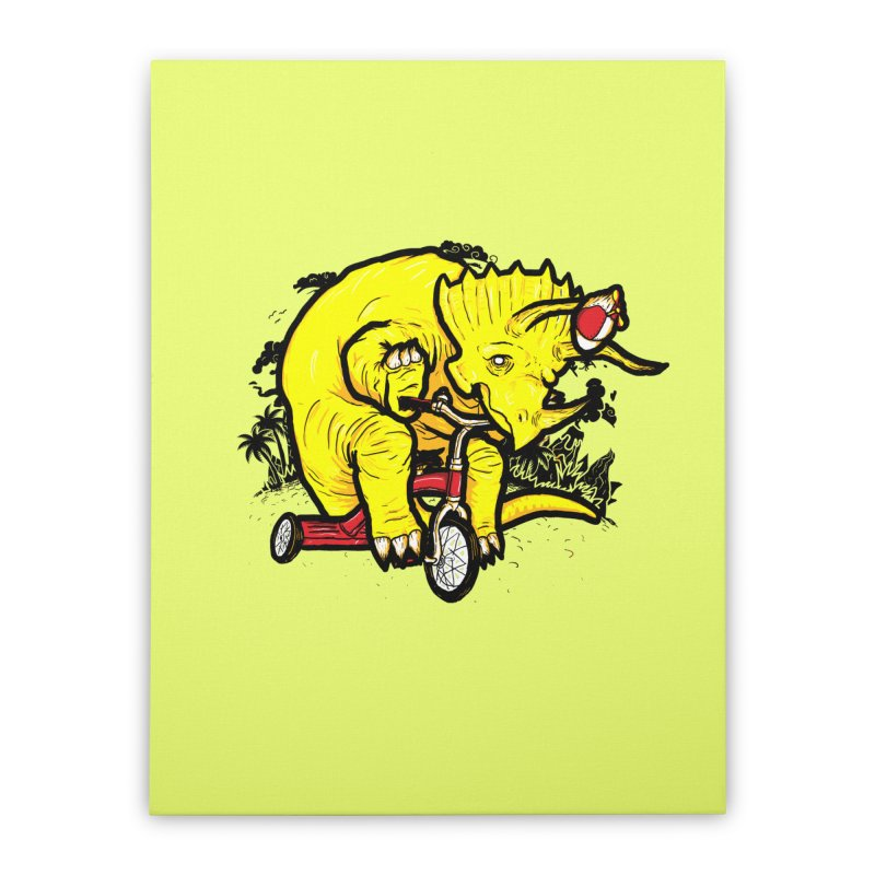 Triceratops ona Tricycle  Home Stretched Canvas by Jonah Makes Art