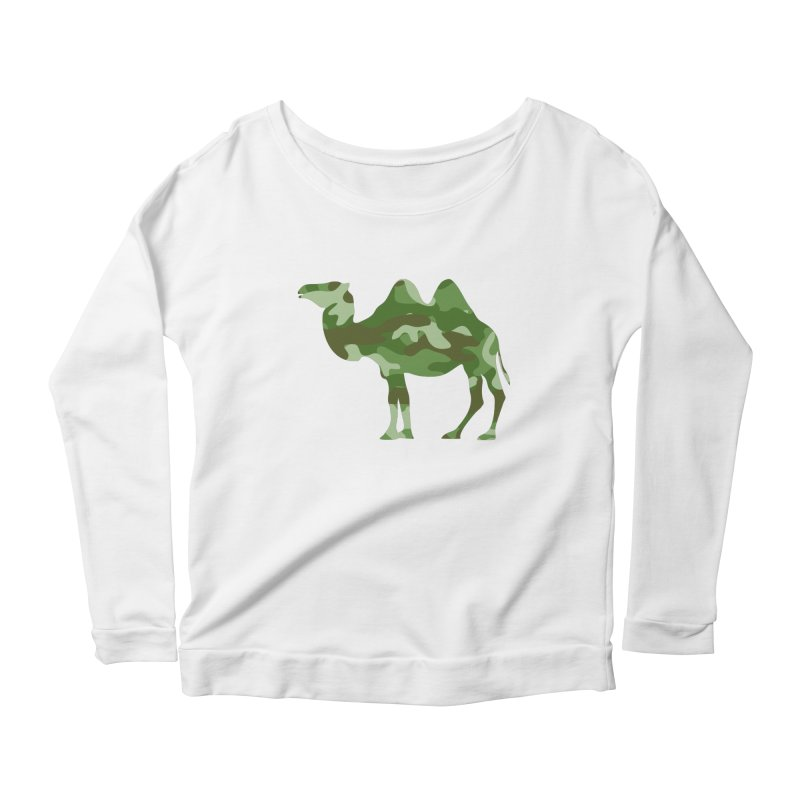 Camelflauge Women's Longsleeve Scoopneck  by Jonah Makes Art