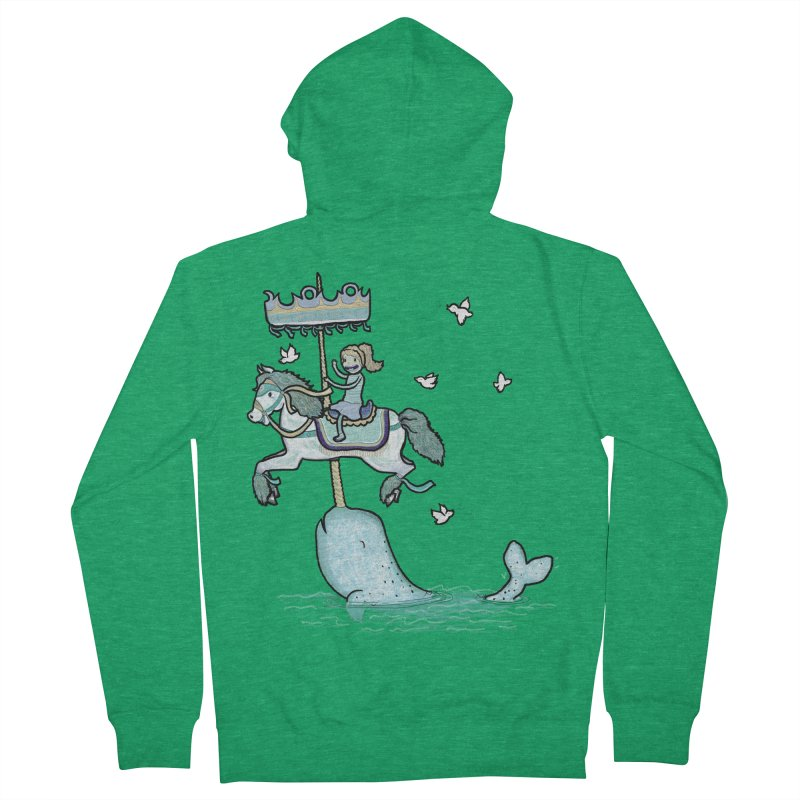 Narwhal Carousel  Women's Zip-Up Hoody by Jonah Makes Art