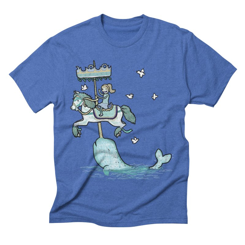 Narwhal Carousel  Men's Triblend T-Shirt by Jonah Makes Art