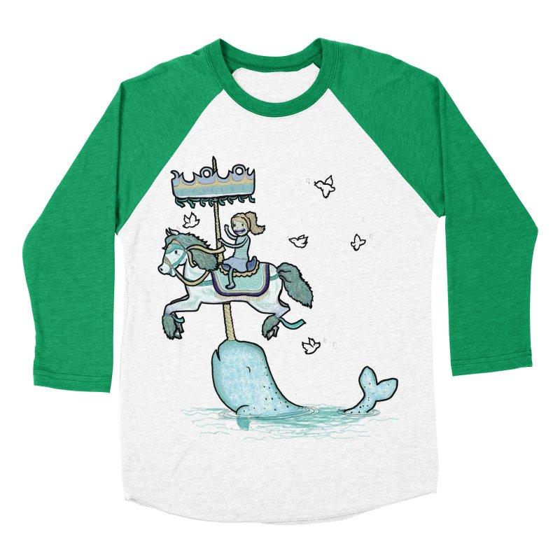 Narwhal Carousel Women's Baseball Triblend T-Shirt by Jonah Makes Art