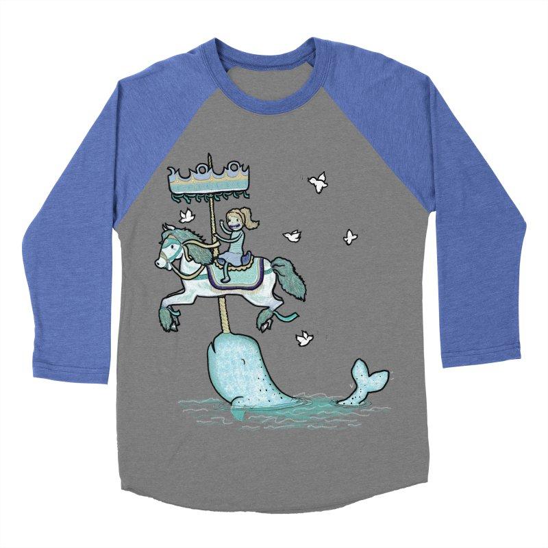 Narwhal Carousel  Men's Baseball Triblend T-Shirt by Jonah Makes Art