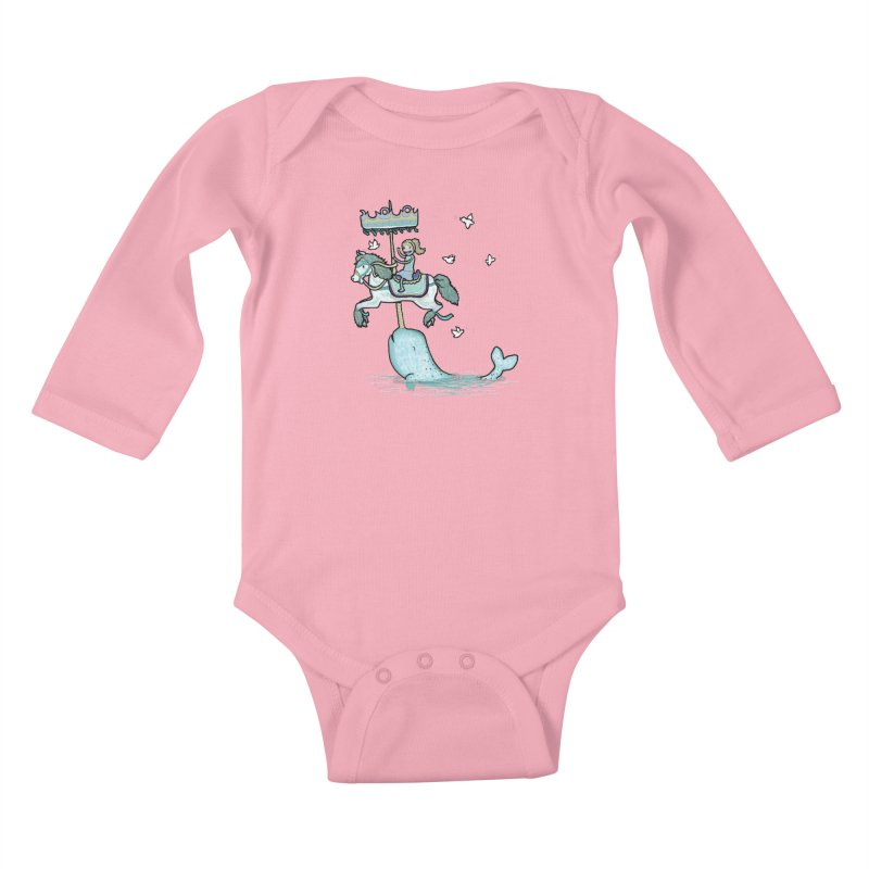 Narwhal Carousel  Kids Baby Longsleeve Bodysuit by Jonah Makes Art