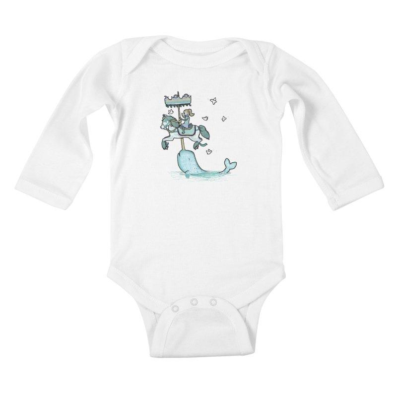 Narwhal Carousel Kids Baby Longsleeve Bodysuit by Jonah Makes Art