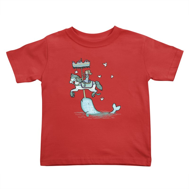 Narwhal Carousel Kids Toddler T-Shirt by Jonah Makes Art