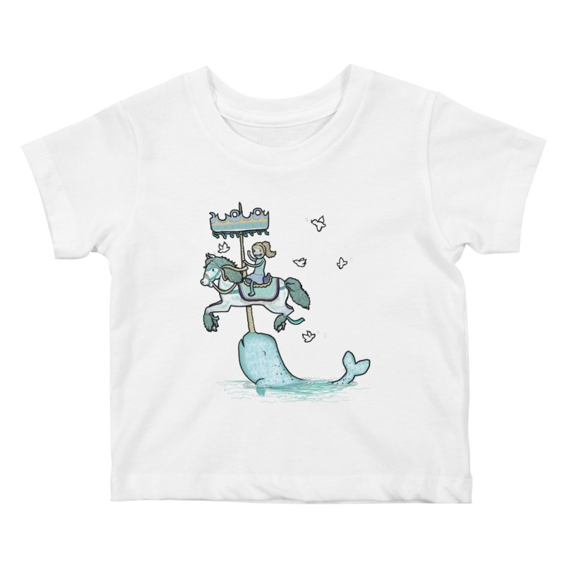 Narwhal Carousel  Kids Baby T-Shirt by Jonah Makes Art
