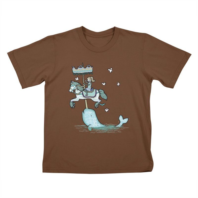 Narwhal Carousel Kids T-Shirt by Jonah Makes Art