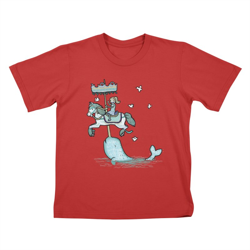 Narwhal Carousel  Kids T-shirt by Jonah Makes Art