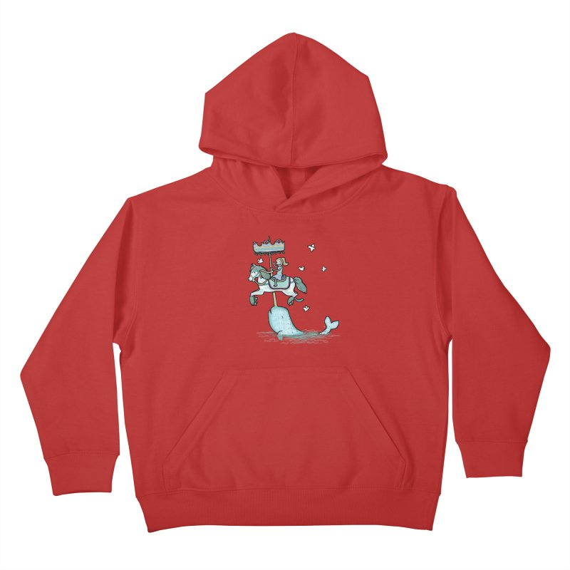 Narwhal Carousel  Kids Pullover Hoody by Jonah Makes Art