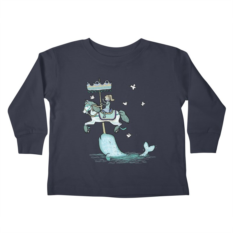 Narwhal Carousel  Kids Toddler Longsleeve T-Shirt by Jonah Makes Art