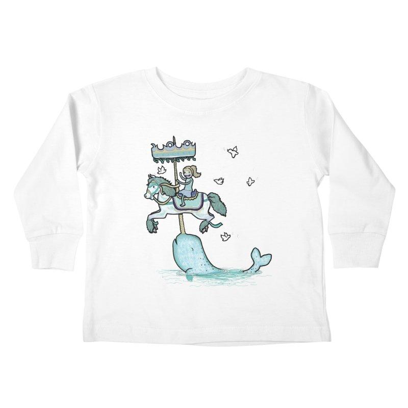 Narwhal Carousel  Kids Toddler Longsleeve T-Shirt by Jonah Makes Art