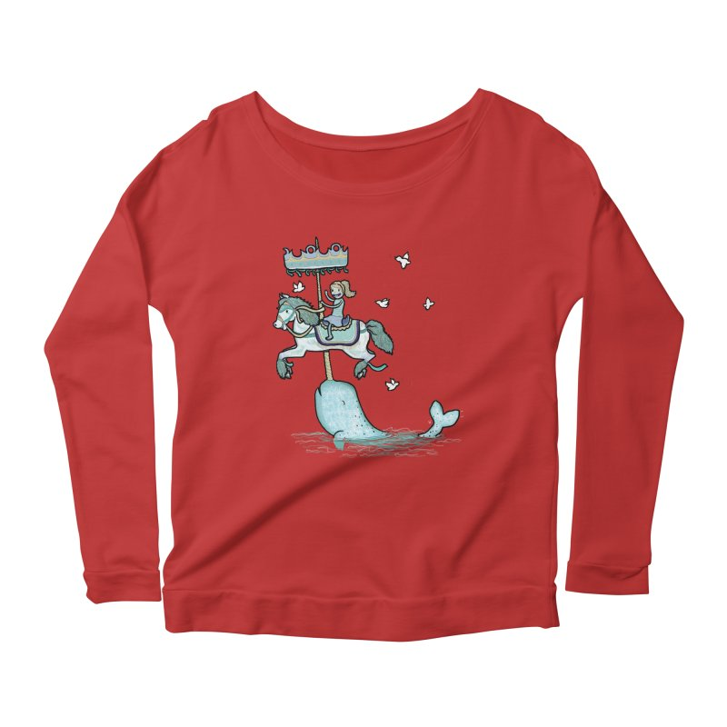 Narwhal Carousel  Women's Longsleeve Scoopneck  by Jonah Makes Art