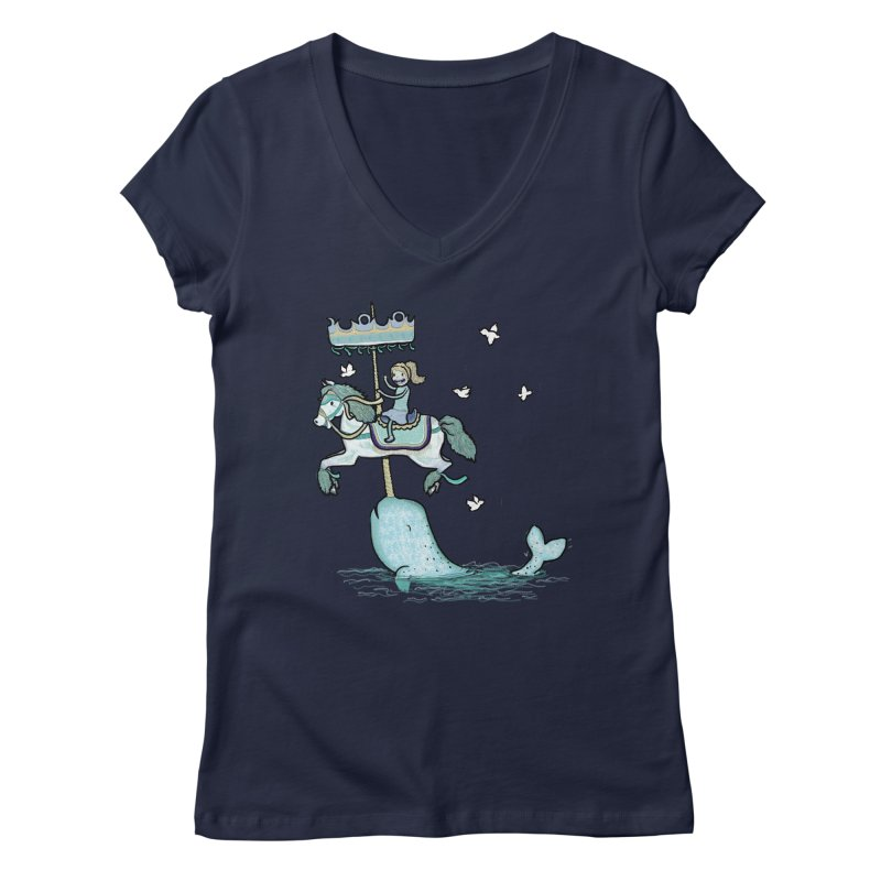 Narwhal Carousel  Women's V-Neck by Jonah Makes Art