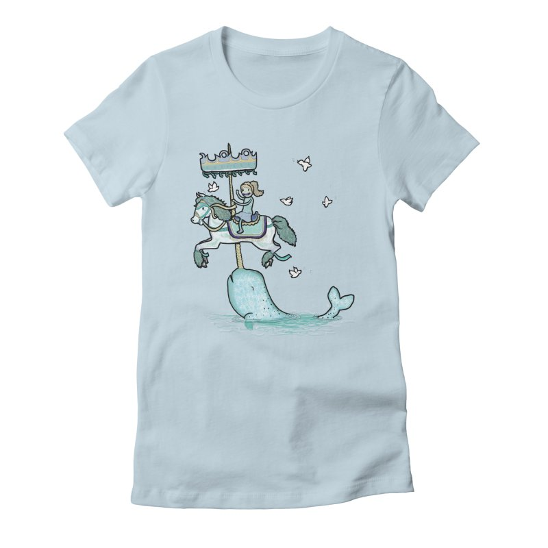 Narwhal Carousel  Women's Fitted T-Shirt by Jonah Makes Art