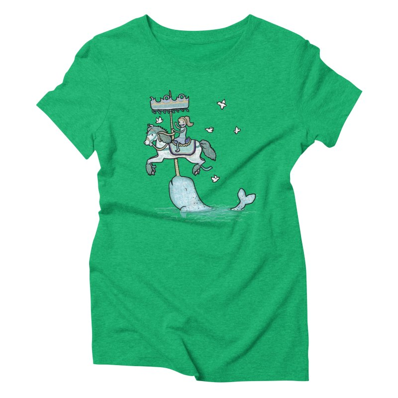 Narwhal Carousel  Women's Triblend T-shirt by Jonah Makes Art