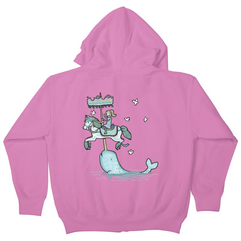 Narwhal Carousel  Kids Zip-Up Hoody by Jonah Makes Art