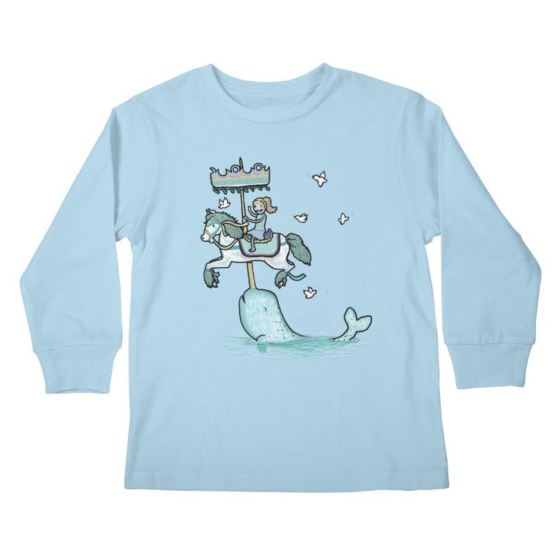 Narwhal Carousel  Kids Longsleeve T-Shirt by Jonah Makes Art