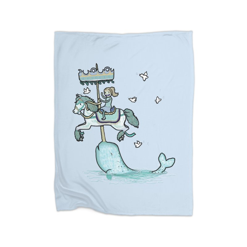 Narwhal Carousel  Home Blanket by Jonah Makes Art