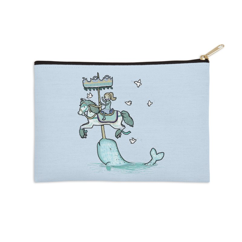 Narwhal Carousel  Accessories Zip Pouch by Jonah Makes Art