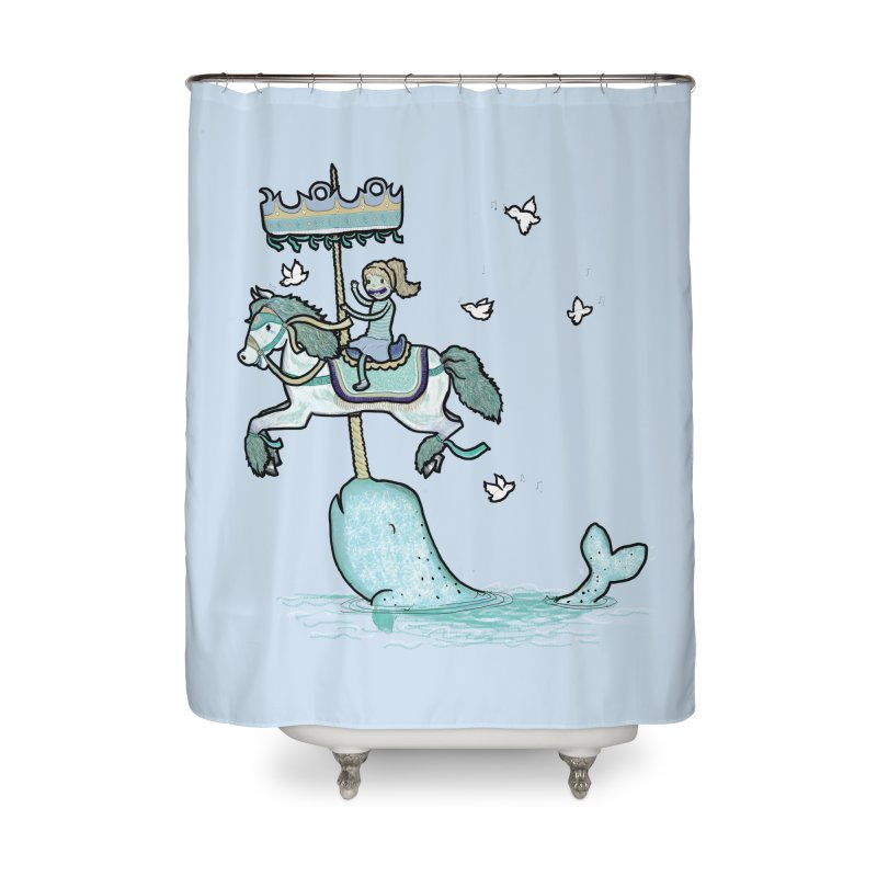 Narwhal Carousel  Home Shower Curtain by Jonah Makes Art