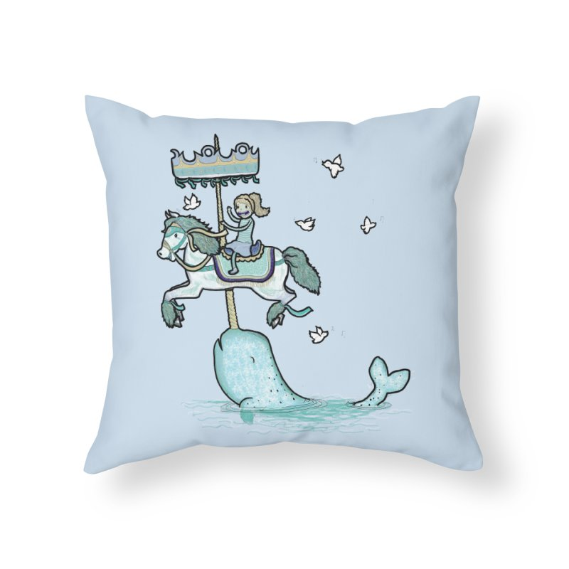 Narwhal Carousel Home Throw Pillow by Jonah Makes Art