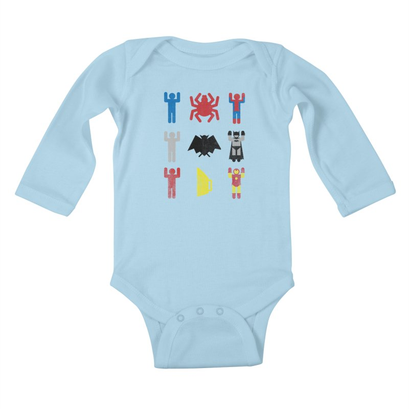 Superheroic Minimalism Kids Baby Longsleeve Bodysuit by Jonah Makes Art