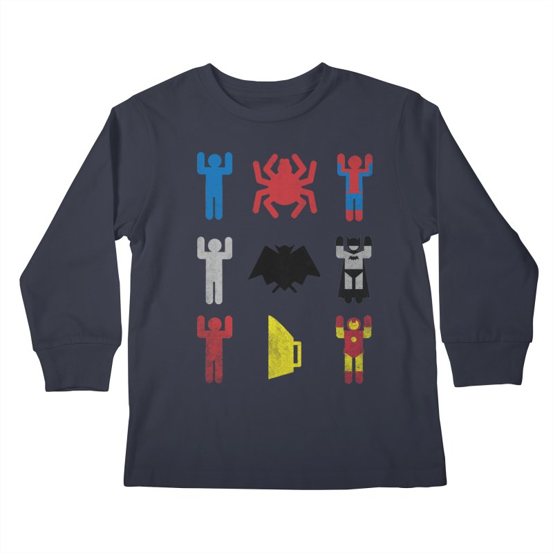 Superheroic Minimalism Kids Longsleeve T-Shirt by Jonah Makes Art