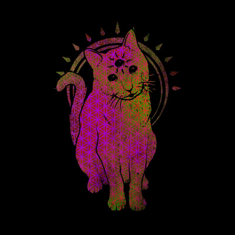 Trippy Kitty multy color flower of life remix by Jonah Makes Art