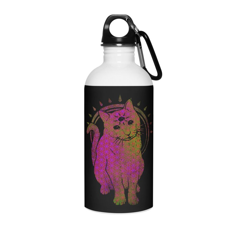 Trippy Kitty multy color flower of life remix Accessories Water Bottle by Jonah Makes Art
