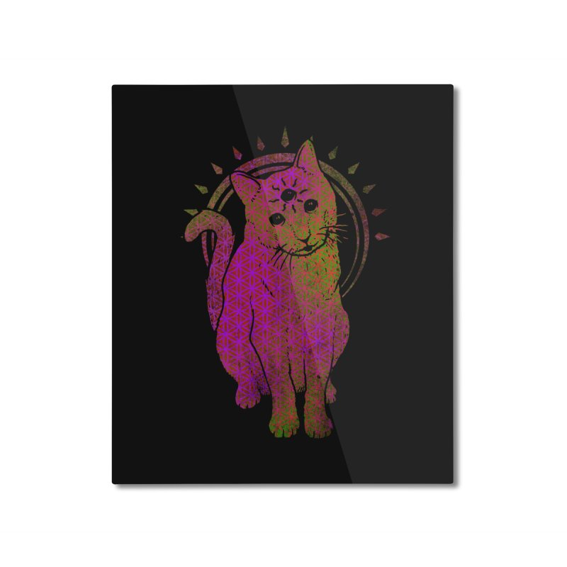 Trippy Kitty multy color flower of life remix Home Mounted Aluminum Print by Jonah Makes Art