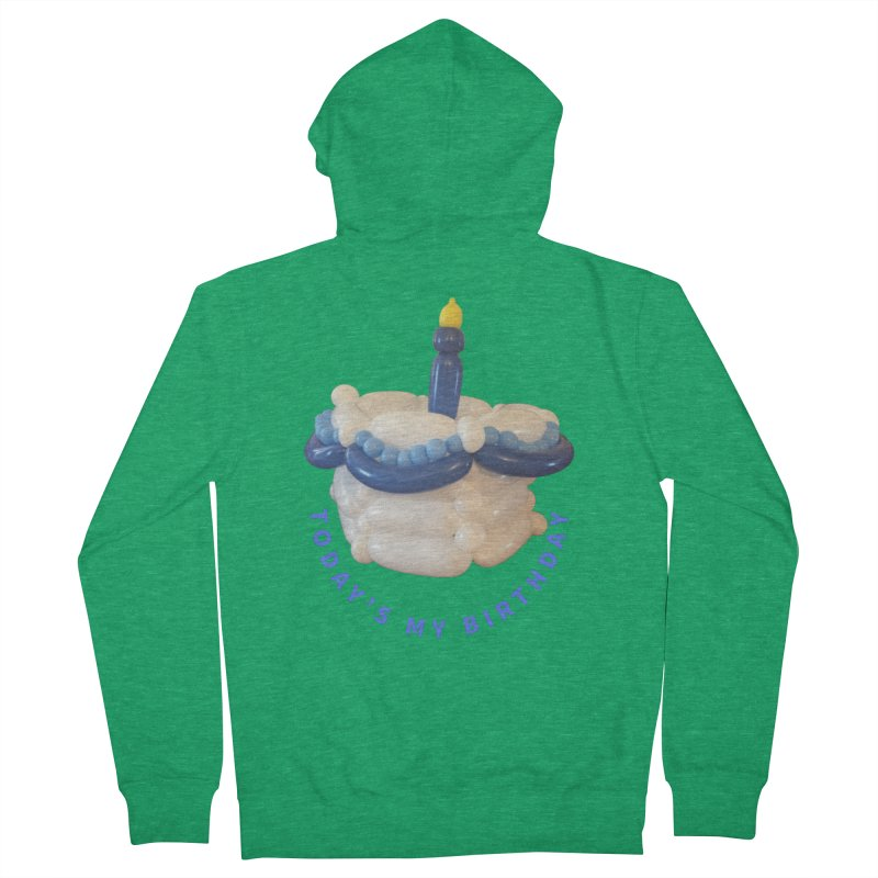 Birthday Cake (blue with blue words) Men's Zip-Up Hoody by Jonah's Twisters Apparel Shop