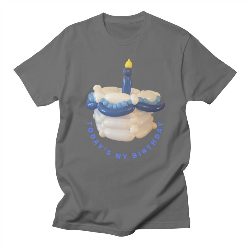Birthday Cake (blue with blue words) Men's T-Shirt by Jonah's Twisters Apparel Shop