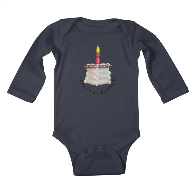 It's my birthday with a pink cake Kids Baby Longsleeve Bodysuit by Jonah's Twisters Apparel Shop