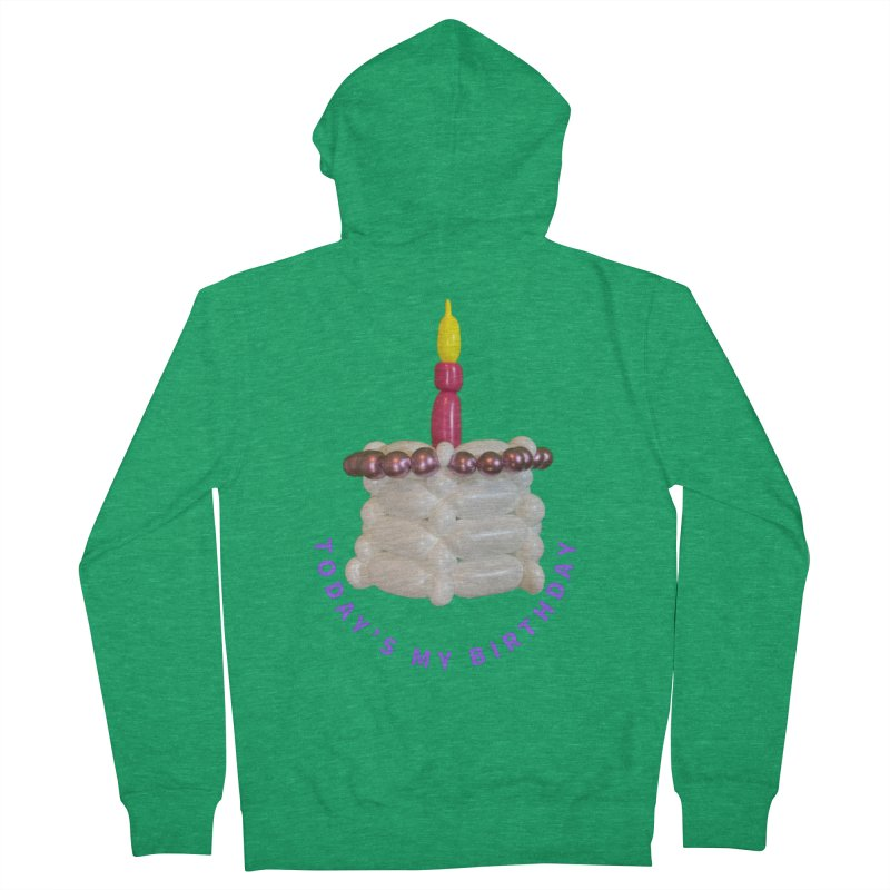Today's My Birthday (Pink cake with Purple words) Men's Zip-Up Hoody by Jonah's Twisters Apparel Shop