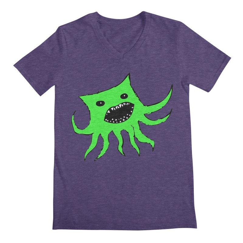 Green Monster Guy Men's V-Neck by jonathanleebyrd's Artist Shop