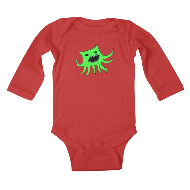 Green Monster Guy Kids Baby Longsleeve Bodysuit by jonathanleebyrd's Artist Shop