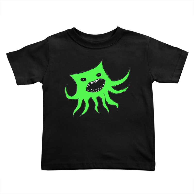 Green Monster Guy Kids Toddler T-Shirt by jonathanleebyrd's Artist Shop