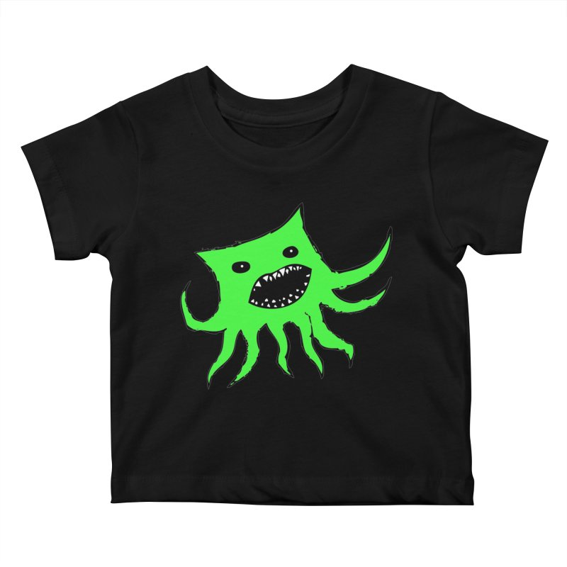 Green Monster Guy Kids Baby T-Shirt by jonathanleebyrd's Artist Shop