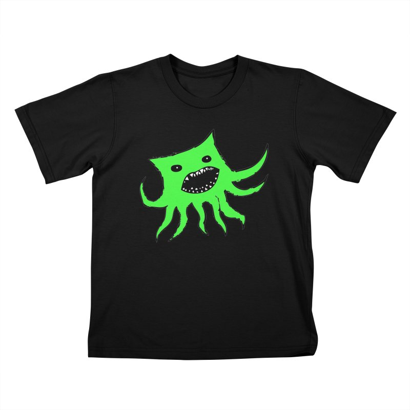 Green Monster Guy Kids T-shirt by jonathanleebyrd's Artist Shop