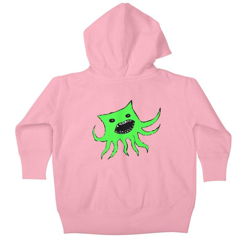 Green Monster Guy Kids Baby Zip-Up Hoody by jonathanleebyrd's Artist Shop
