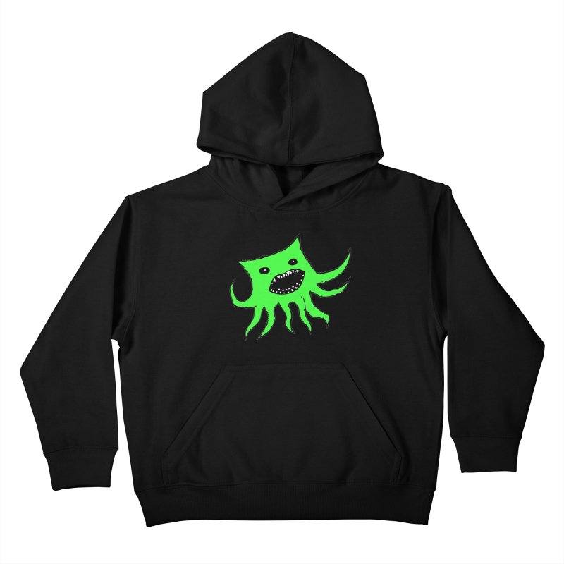 Green Monster Guy Kids Pullover Hoody by jonathanleebyrd's Artist Shop