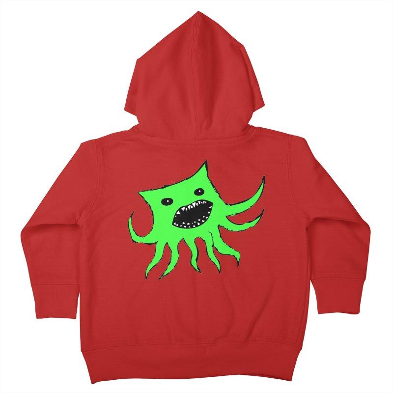 Green Monster Guy Kids Toddler Zip-Up Hoody by jonathanleebyrd's Artist Shop