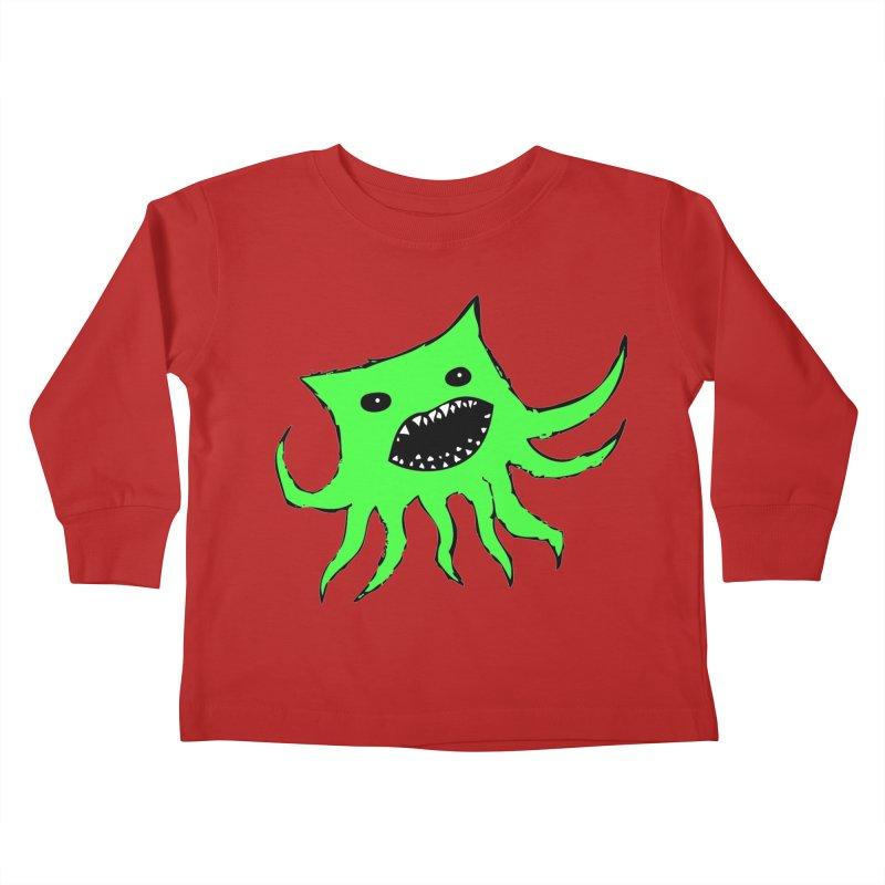 Green Monster Guy Kids Toddler Longsleeve T-Shirt by jonathanleebyrd's Artist Shop