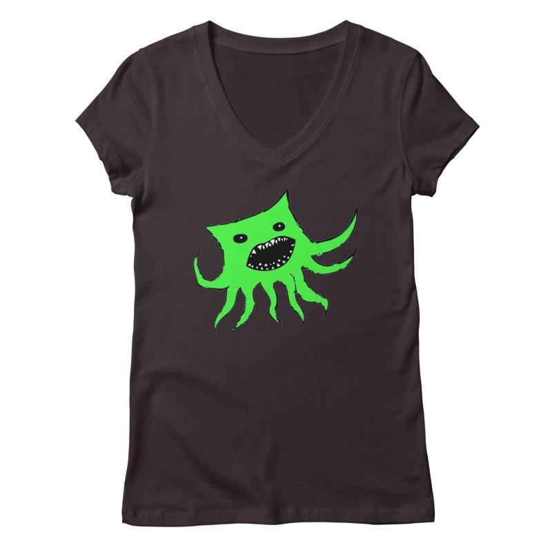 Green Monster Guy Women's V-Neck by jonathanleebyrd's Artist Shop