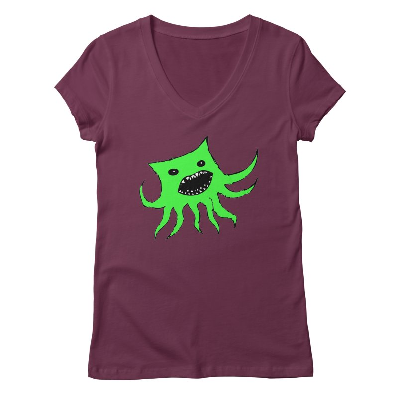 Green Monster Guy Women's V-Neck by jonathanleebyrd's Artist Shop