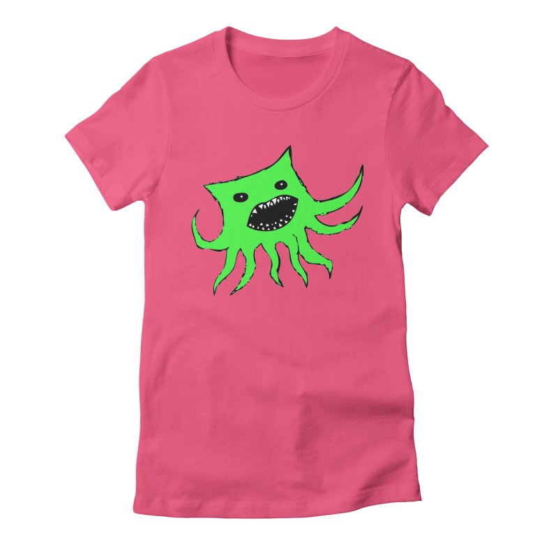 Green Monster Guy Women's Fitted T-Shirt by jonathanleebyrd's Artist Shop