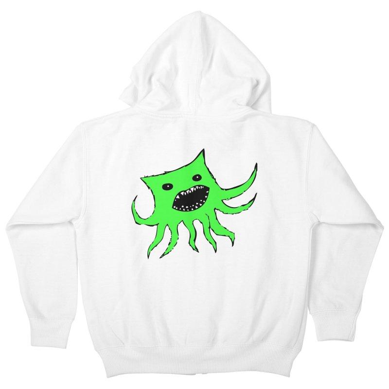 Green Monster Guy Kids Zip-Up Hoody by jonathanleebyrd's Artist Shop