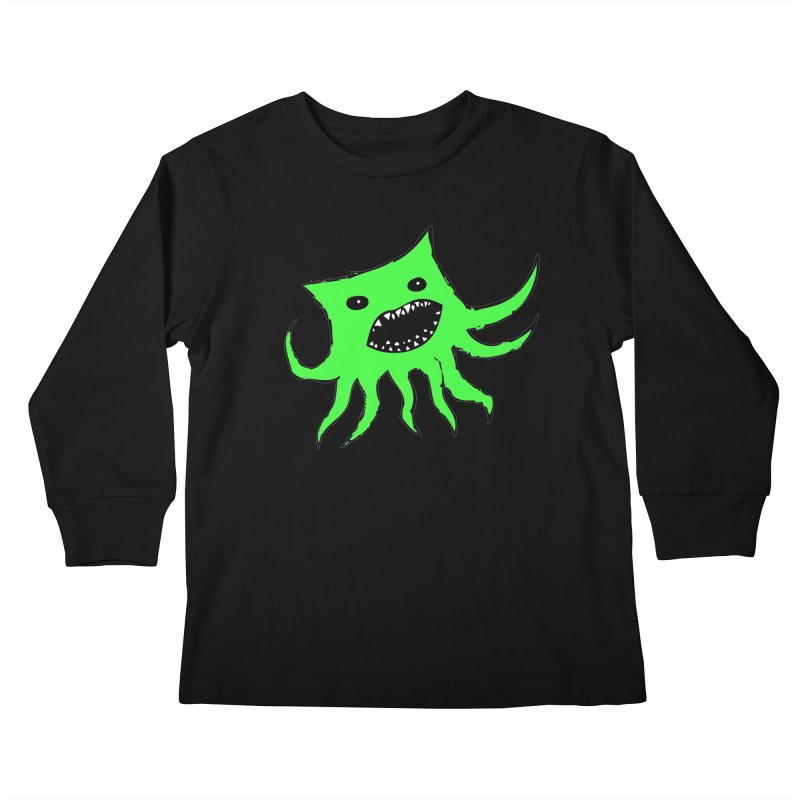 Green Monster Guy Kids Longsleeve T-Shirt by jonathanleebyrd's Artist Shop
